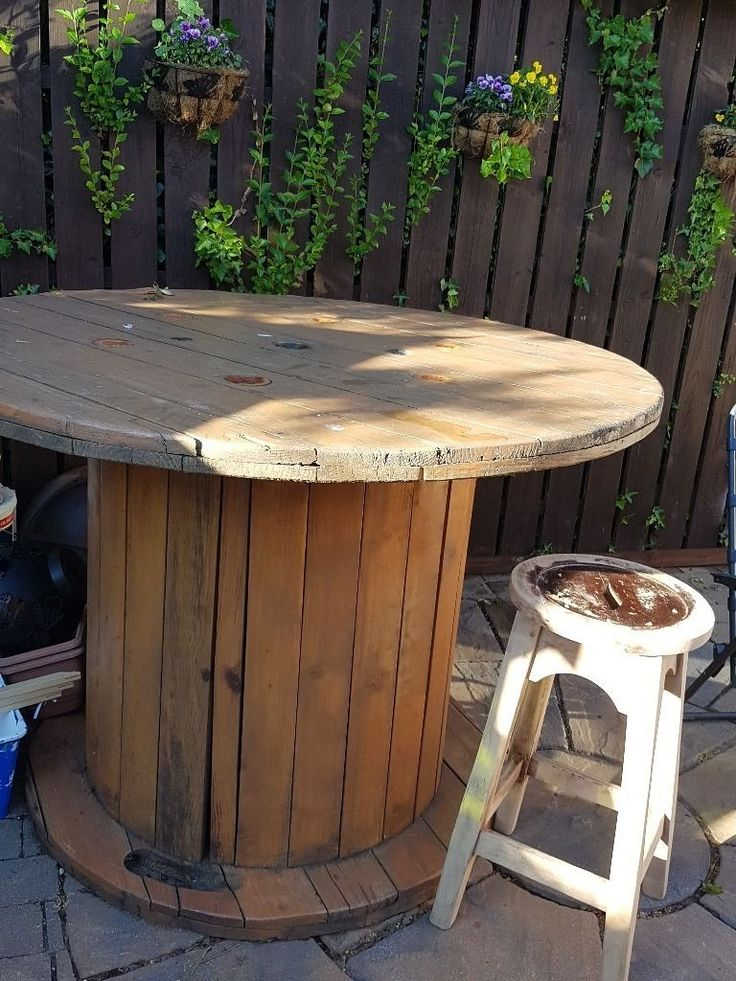 Cable Reel Table, Sanded And Varnished. 4 Solid Oak Bar Stools, Sanded But  Need Finished.