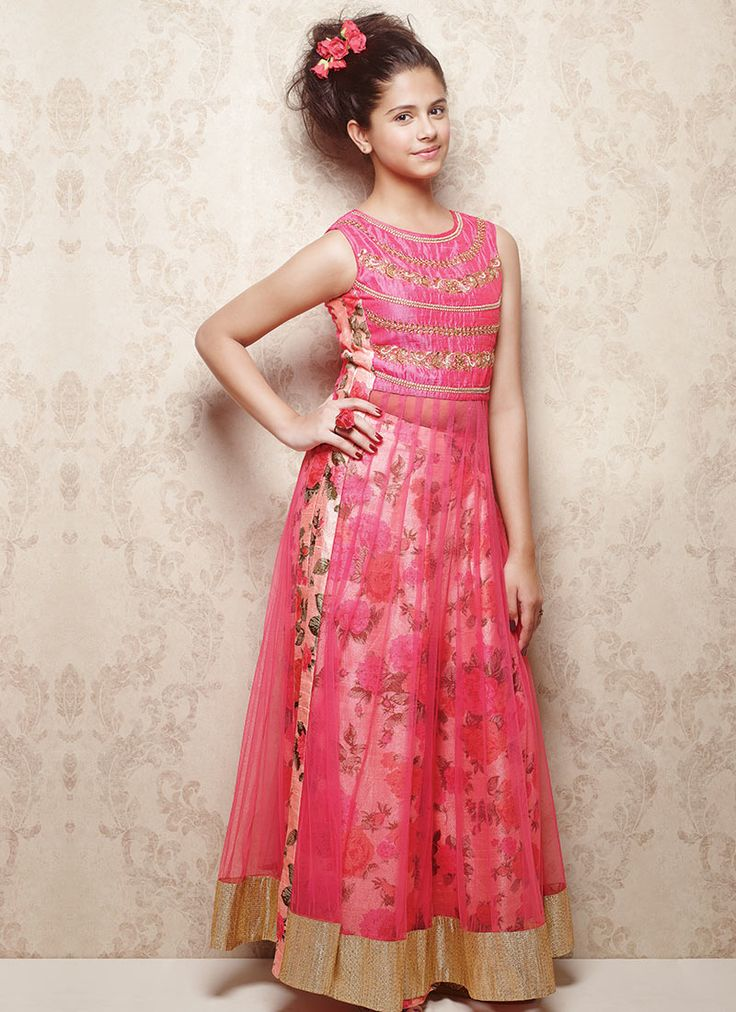 Doll Pink Net Kids Anarkali Suit