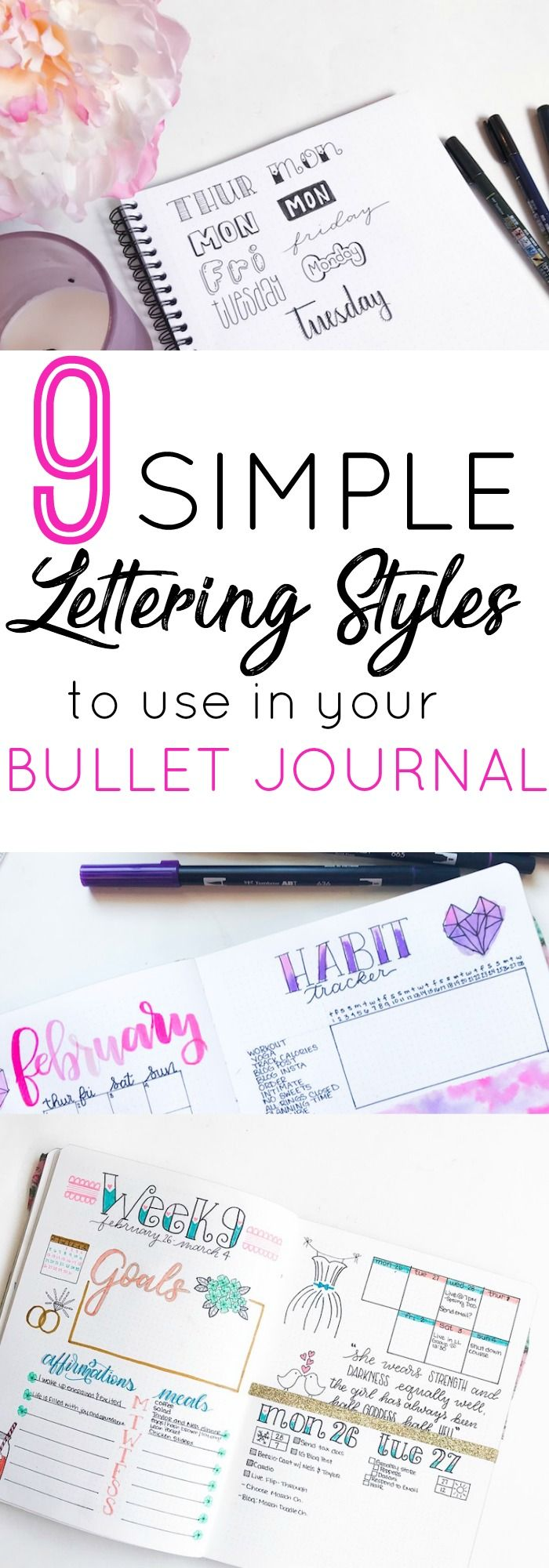 9 simple lettering styles for your bullet journal