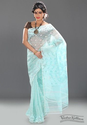 Light Blue Muslin Dhakai Jaamdani Saree