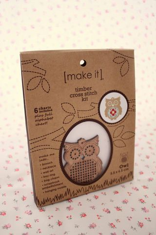 Wooden Cross Stitch kits available in 3 different designs - owl, babushka and circle shapes