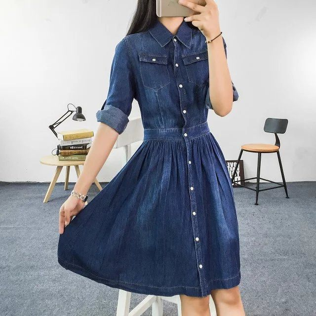 Gender: Women Waistline: Natural Decoration: Pockets Sleeve Style: Regular Pattern Type: Solid Style: Casual Material: Cotton Season: Spring Dresses Length: Knee-Length Neckline: Turn-down Collar Silh
