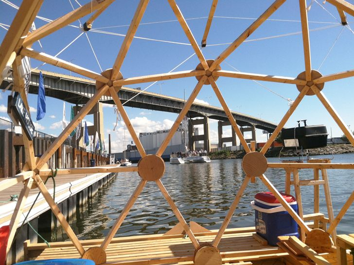 Man Builds Geodesic Bucky Houseboat for Around $2,000