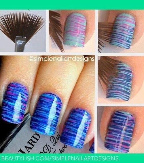 Cool and easy DIY nail ideas with a fan paintbrush.