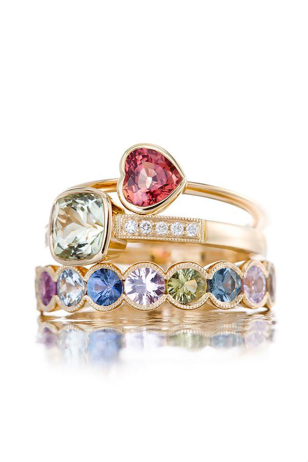 Saphire heart & gold / Tourmaline, diamonds & gold / Fancy sapphires & gold #ateliertorbjorntillander #jewellery #jewelry