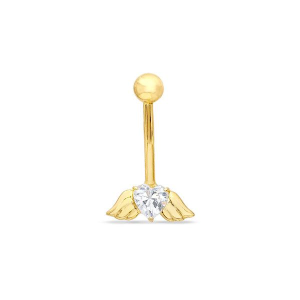 014 Gauge Angel Wings Belly Button Ring with Cubic Zirconia Heart in... ($80) ❤ liked on Polyvore featuring jewelry, belly rings, accessories, body jewelry, jewelry - belly rings, cubic zirconia gold jewelry, gold jewellery, gold heart jewelry, gold body jewelry and cz jewellery