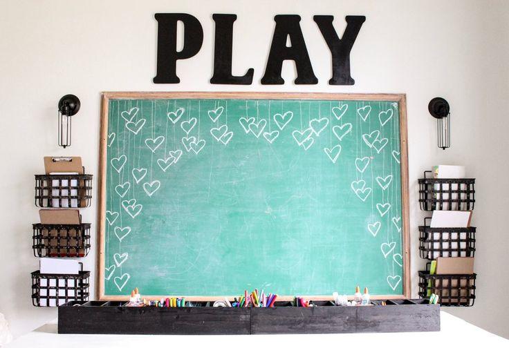 CottonStem.com modern farmhouse playroom vintage green chalkboard craft table.jpeg