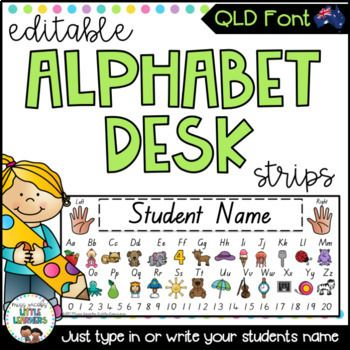 QLD Beginners Font Alphabet Desk Strips with Numbers {Student Name Tags} These Queensland Font Alphabet Desk Strips areeditableand can be personalised to include your students name on them with your choice of font. They feature every letter of the alphabet with a cute graphic to correspond to each letter.