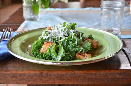 Kale Caesar Salad - The Family Cooks & The Family Dinner by Laurie David