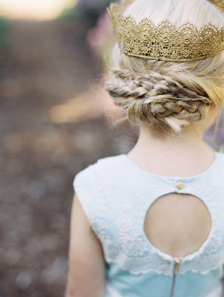 flower girl crown & braid | Photography: Whitney Neal Photography - www.whitneynealphoto.com  Read More: http://www.stylemepretty.com/2014/04/04/mint-blue-whimsical-garden-wedding/