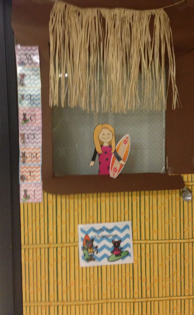 Our classroom door was a hit!  Surfin' into Kindergarten. See my teaching partner in the window holding the surf board?  How cute! $1