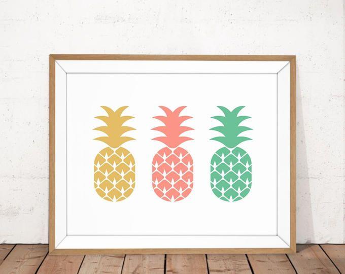 Art, Art de mur de chambre bébé à la menthe ananas rose or, affiche colorée, fruits imprimable, ananas affiche, crèche coloré de l'Art, rose corail
