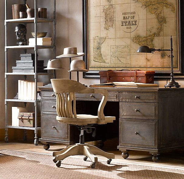 Vintage Wood Office Chair Weathered Oak DriftedIdeas, Restoration Hardware, Chairs, Maps, Vintage Offices, Desks, The Offices, Restorationhardware, Home Offices