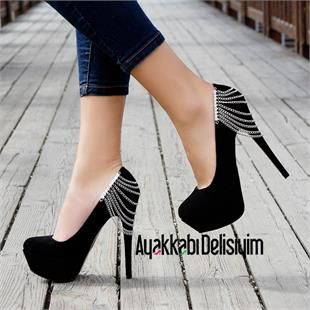 Eleni Siyah Zincirli Yüksek Topuklu Platform Ayakkabı