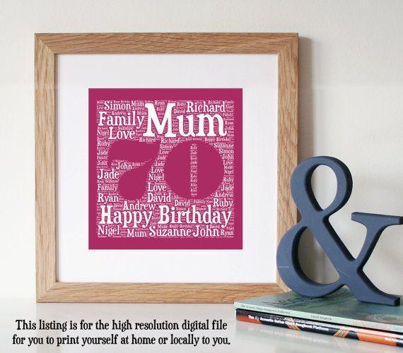 Personalised 70TH BIRTHDAY GIFT - Printable Art - Unique Birthday Gift - Seventy…
