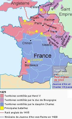Carte de France à la guerre de cent ans, en 1429