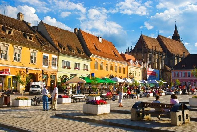 Brasov, the main square, with the Black Church in the background.