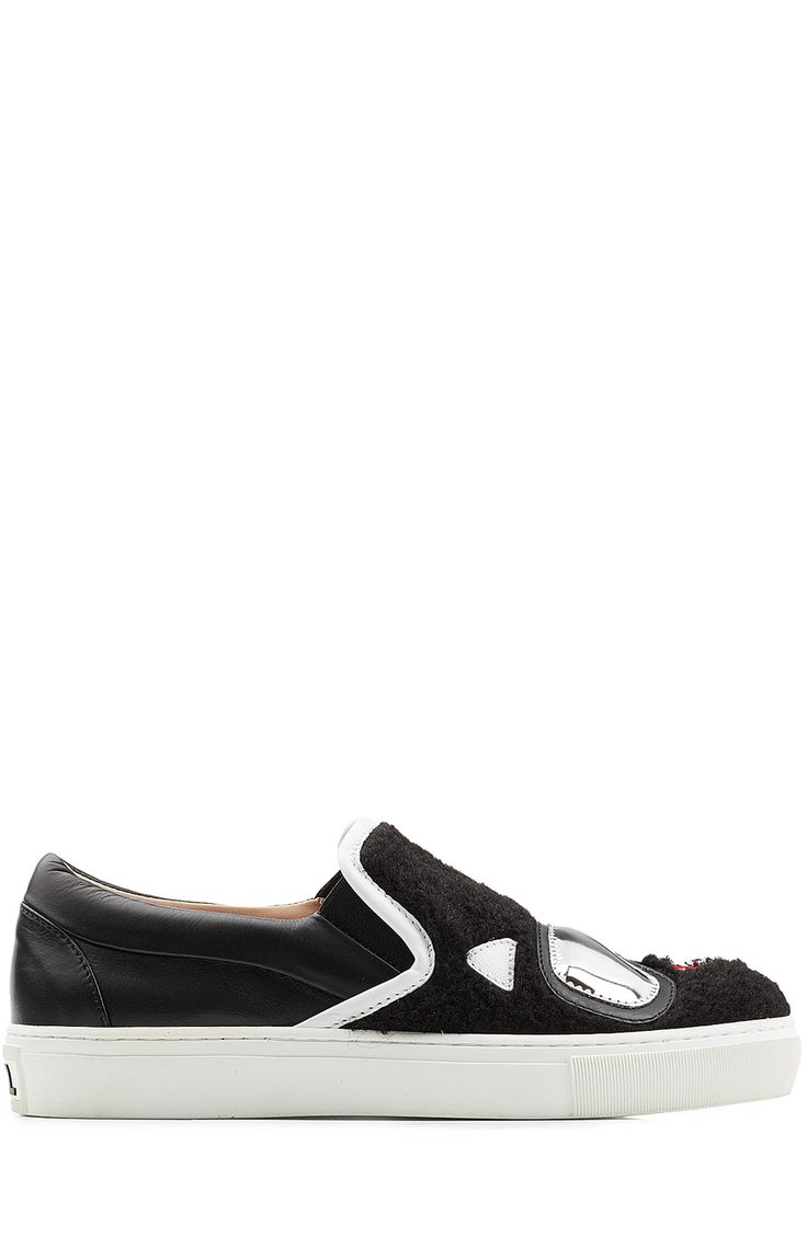 KARL LAGERFELD Slip-On Sneakers with Leather. #karllagerfeld #shoes #sneakers