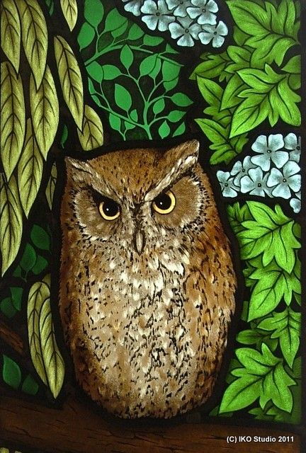 Stained glass owl & foliage