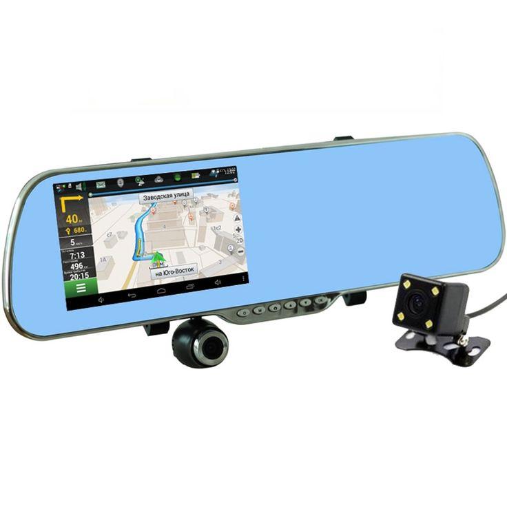 """2017 Nouveau 5 """"voiture DVR GPS Navigation Wifi Android Full HD 1080 P Voiture Caméra Double Lentille Parking Rétroviseur Caméra Vidéo Enregistreur"""