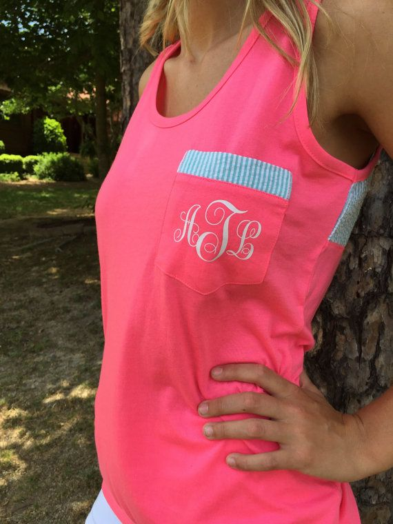Custom Monogram Tank Top With Seersucker by TheCreativeDesign