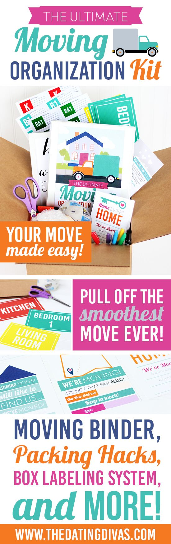 As Divas, we've moved more than our fair share of times, so we've put our heads together to come up with ways to solve some of the hassles and headaches of moving. Our Moving Organization Kit is stuffed full of moving timelines, checklists, packing hacks, and MORE to make your next move easier than ever, so you can spend your time looking forward to relaxing in your new digs!