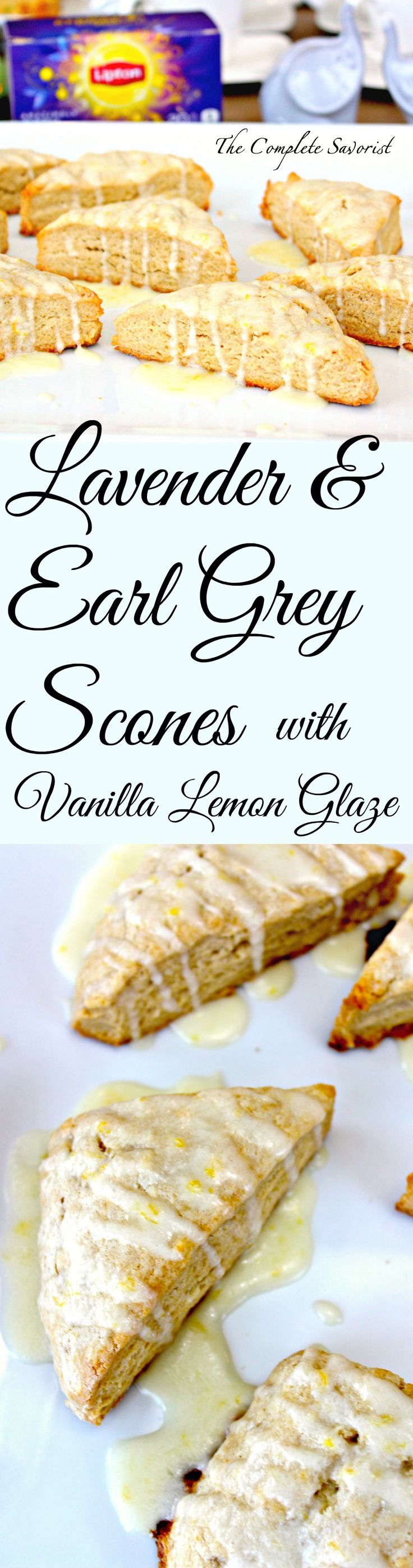 Lavender and Earl Gray Scones with Lemon Vanilla Glaze ~ Perfect tea dipping scone ~ The Complete Savorist