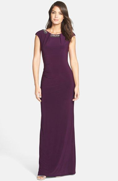 Vince Camuto Beaded Cap Sleeve Gown available at #Nordstrom