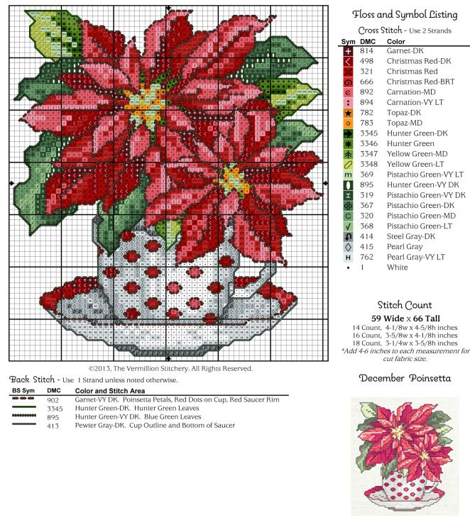 #12 December Teacup, Poinsettia Free Cross Stitch Pattern