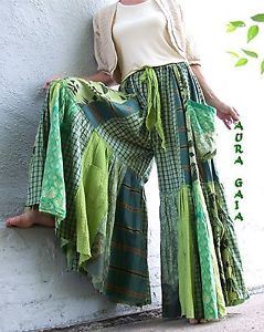 AuraGaia ~ Green Skort Pants OverDyed Upcycled Goodness fit XS-3X plus, 6 pockets, greens; cotton, rayon, silk. checks, stripes, leaves, scrolls, dragons, tribal patterns