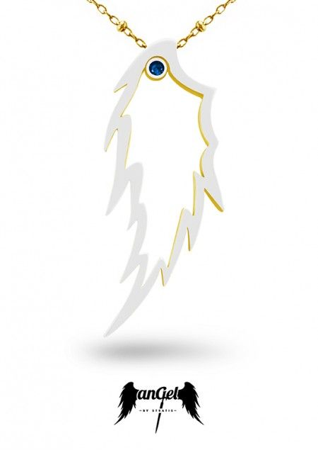 Feather Pendant, the ultimate angelic sign, left as reminder that Angels are continually watching over Humanity. Gold Plated Silver, White Enamel, Sapphire 0.08 ct. Click to find more jewellery pins! #style #design #ideas #jewellery #angelbystratis #voyjewellery #trends #fashion #womens fashion #love #startisvoyiatzis #stratisvogiatzis