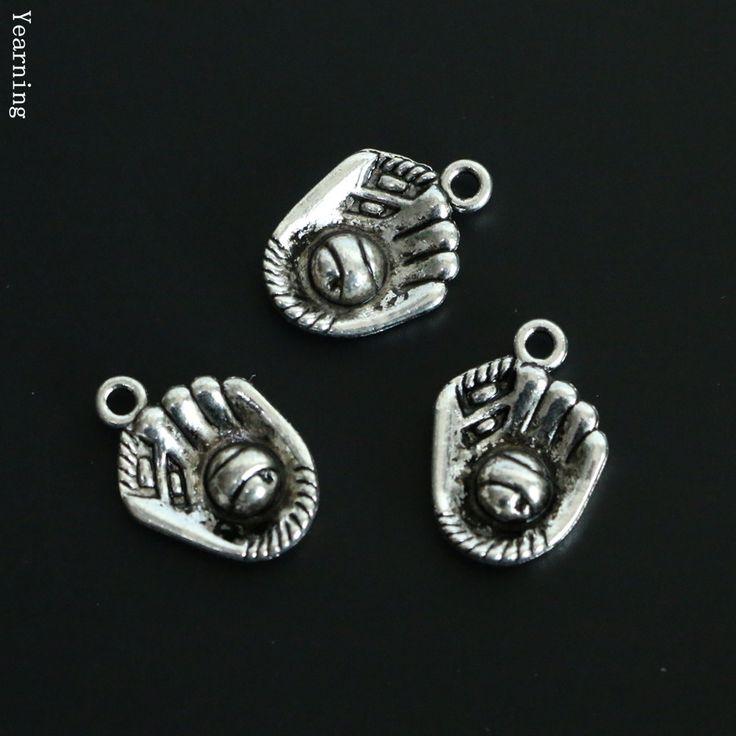 Тоска ювелирных изделий винтаж сплав серебра бейсбольные перчатки шармов fit ожерелье браслет 21 * 15 мм 60 шт./лот