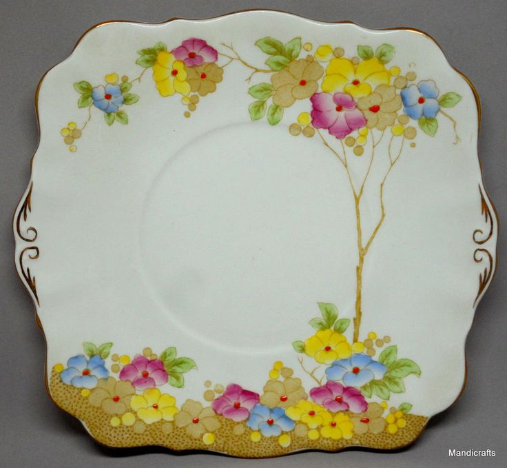 "Royal Standard #Plate Square 8"" #Roseate Pattern Floral Bone China UK 1950s unused #RoyalStandard #Classic"