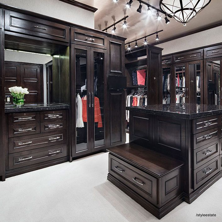Espresso - dark wood walk in closet with beautiful molding details and a light beige carpet, glass doors and an island