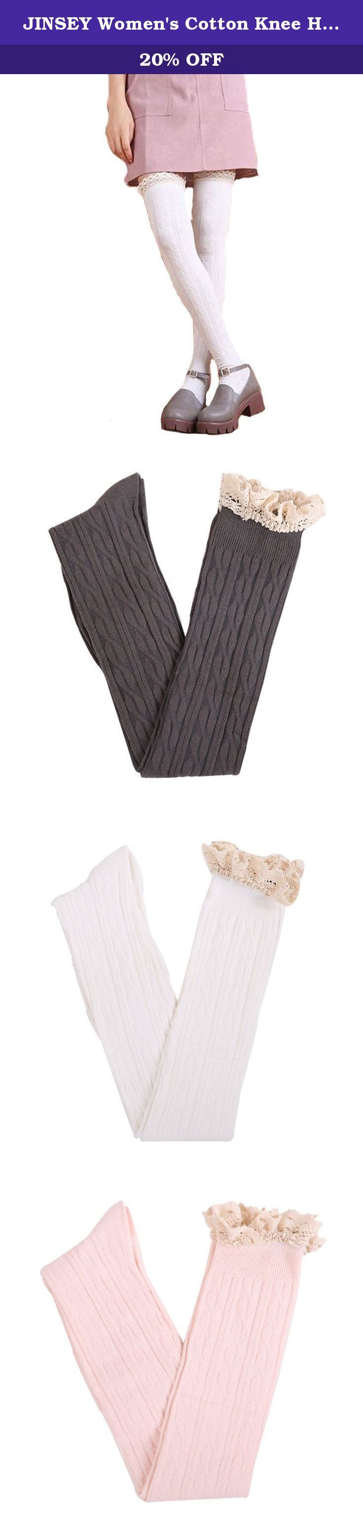 JINSEY Women's Cotton Knee High Button Lace Boot Socks. Pack of 3 pair. Cotton. Lcse Top Over The Knee Long High Boot Socks. Absorb sweat, shaping, deodorization, anti friction, breathable. Over the knee socks that stay up and stay put. The soft, smooth feel of the fabric and cute design of the thigh highs make them perfect to complete a cute outfit!.
