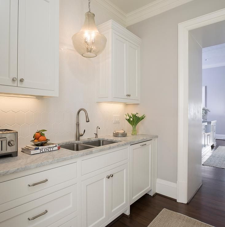 White And Gray Butler S Pantry Features A Seeded Glass