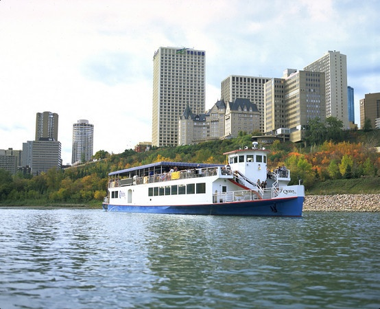 The Edmonton Queen plies the shallow waters of the North Saskatchewan River through downtown Edmonton.