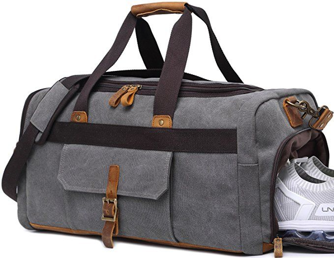 72b5f772a2c9 Weekender Overnight Duffel Bag with Shoes Compartment for Women Men Canvas  Weekend Travel Tote Carry On Bag Review