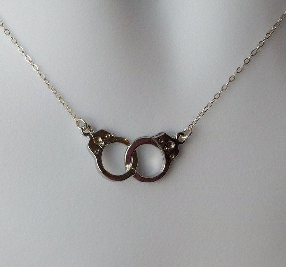 Silver Handcuff Necklace Handcuff Pendant by SilverandGoldJewelry