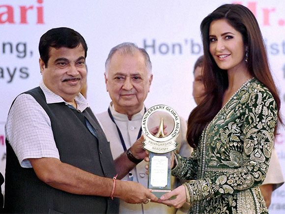 Nitin Gadkari honors Katrina Kaif with the Smita Patil Memorial award