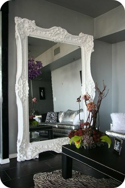 white framed floor mirror! yes!