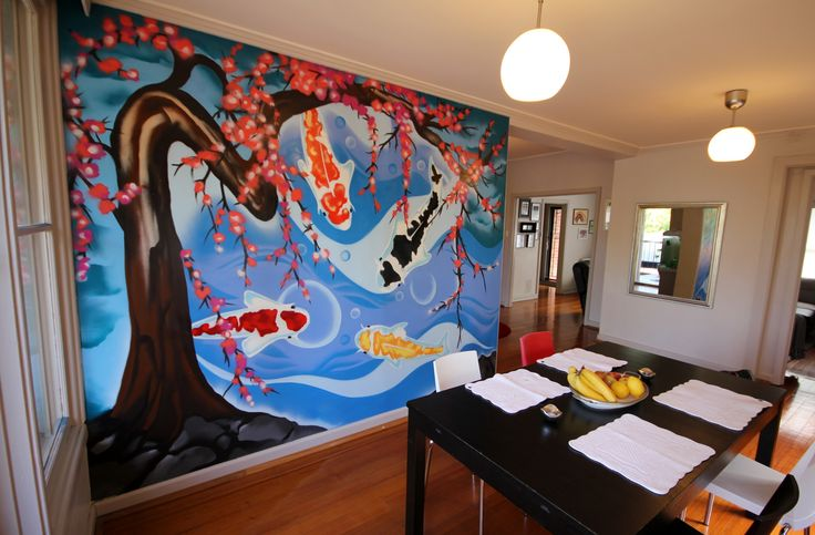 Koi Fish and Cherry blossom Dining room wall art by KIL Productions. Eaglemont Residential November 2016. For Sales - www.kilproductions.com.au