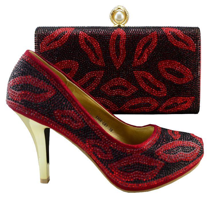 Fashion design scarpe italiane e sacchetti di corrispondenza per la festa nuziale, colore del Vino per la signora Africana per abbinare le scarpe, 1308-L61D(China (Mainland))