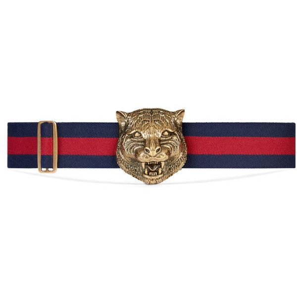 Gucci Elastic Belt With Feline Buckle ($420) ❤ liked on Polyvore featuring accessories, belts, stretchy belts, elastic belt, embellished belt, gucci belt and stretch belt
