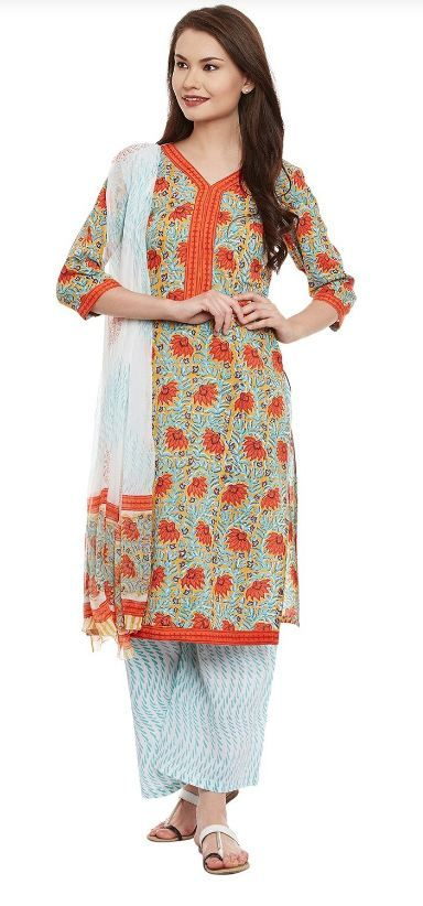 Buy Online Printed Cotton Salwar Kameez – Pinkshink  We are Offering beautiful #Cotton #Printed #suit to our valuable customer at #affordable #price. We offer product to meet the full satisfaction of customers by our best product. We try to keep the cost of the minimum. Hand block print on traditional Kota Doria Cotton fabric. Paired with a chiffon dupatta. #Salwar #Kameez and Dupatta: 2.5 meter each.