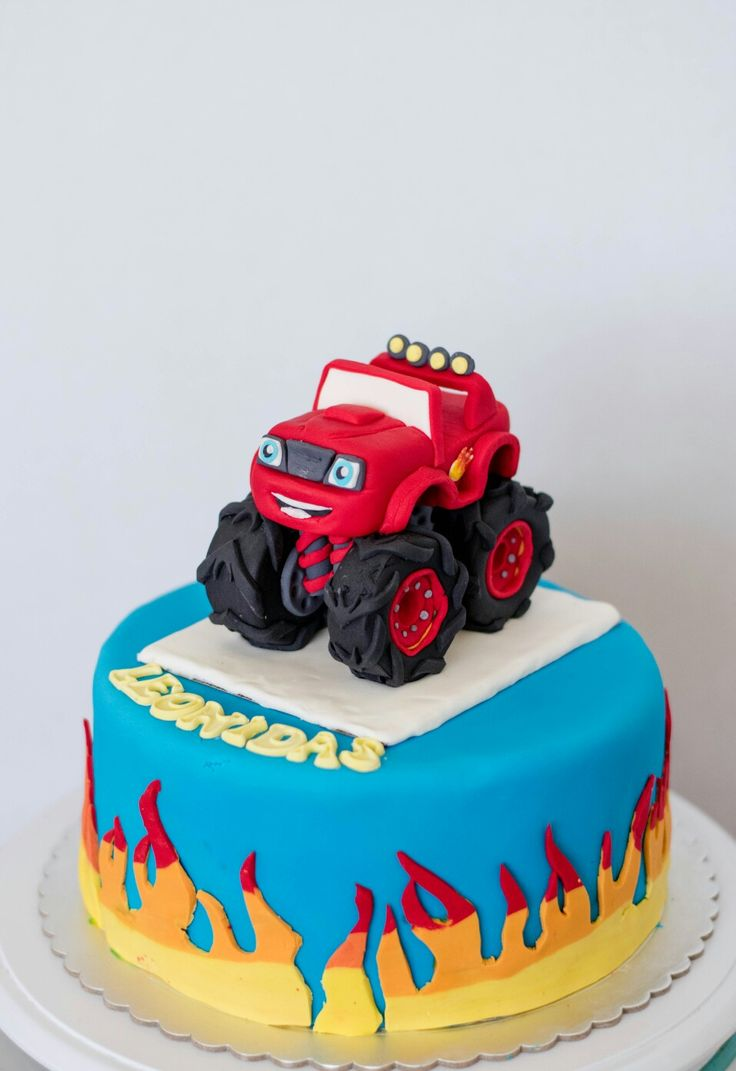 Blaze monster truck cake  Fondant sugar art decoration  Chocolate 3 layer frosting cake