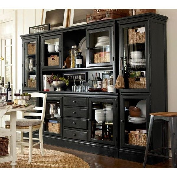 Pottery Barn Tucker Wall Unit (60 520 ZAR) ❤ liked on Polyvore featuring home, furniture, storage & shelves, tower, display tower, black tower, drawer tower and pottery barn hutch