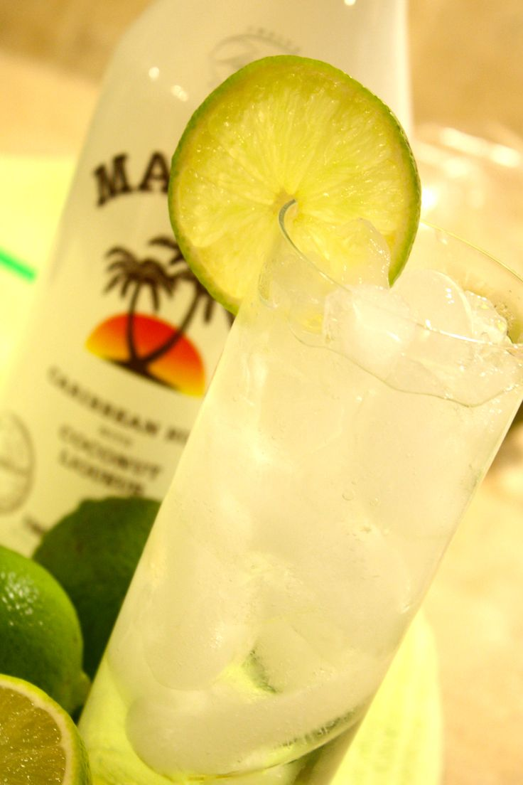 Coconut Lime Cooler- sounds like a good summer drink!  1oz Malibu Coconut Rum  .5oz Silver Rum  Lemon Lime Soda  Splash of fresh squeezed lime juice