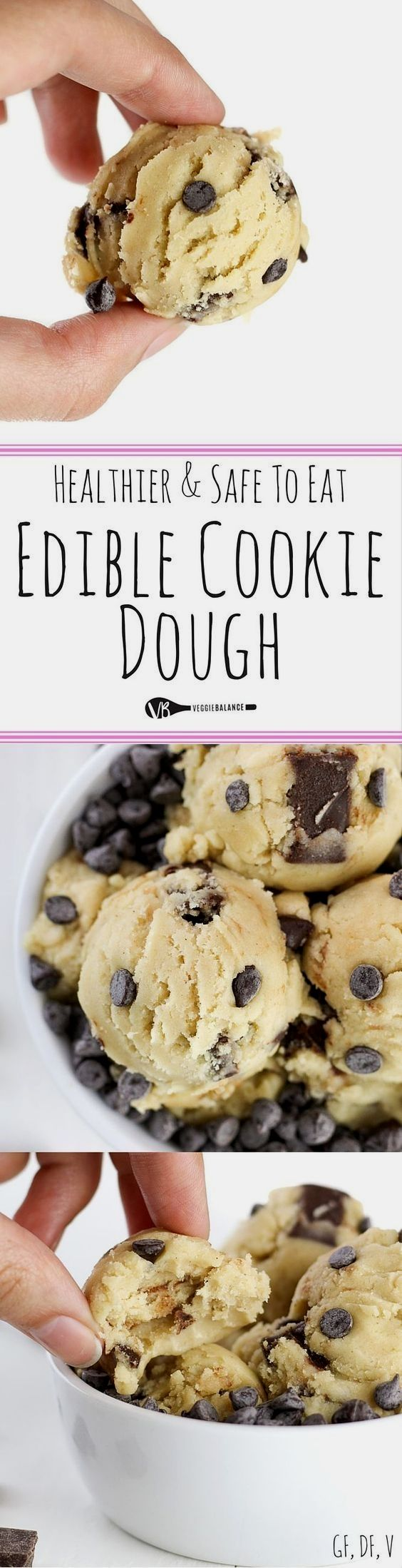 Edible Cookie Dough recipe and How-To Make it Healthy, Gluten-Free, Dairy-Free and Lower-sugar! Made edible and egg-less with just 7 simple ingredients!