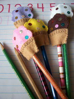 Felt cupcake pencil toppers!!!